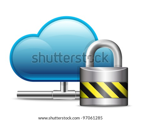 Cloud Computing Icon with Protection. Vector