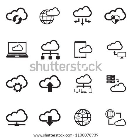 Cloud Computing Icons. Black Flat Design. Vector Illustration.