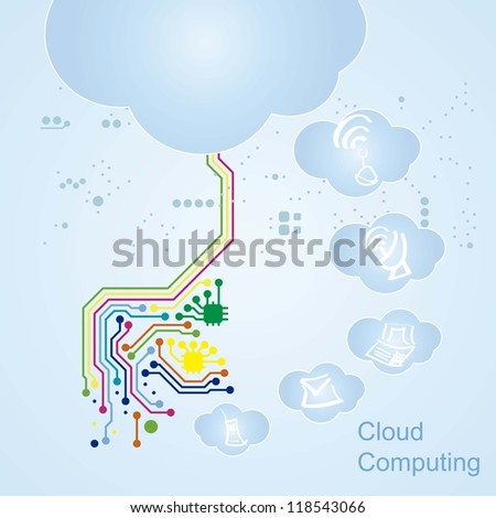 Cloud Computing icons circuit board