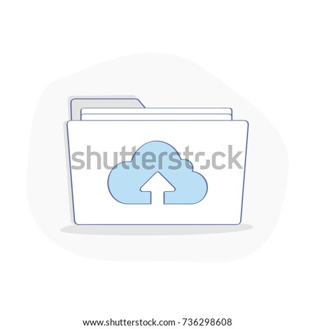 Cloud computing illustration, in modern line flat style. Data storage, media server, web hosting and cloud technology concept. Backup, copy, migrate data between cloud storage services.