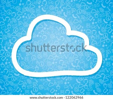 cloud computing illustration over blue background. vector