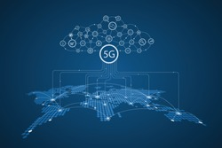 Cloud computing in 5g generations. The world of communication by smartphone or tablet. Social network connections. Business big data technology concept.