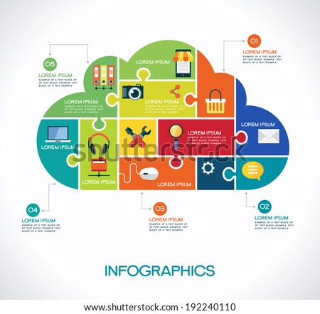 cloud computing infographic Template with interface icons puzzle clouds and text cloud computing concept