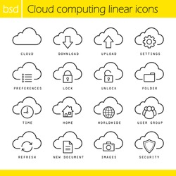 Cloud computing linear icons set. Download, upload, settings and preferences symbols. Lock, unlock and folder icons. Online data storage icons. Thin line illustration. Vector isolated outline drawings