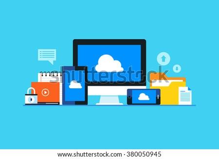 Cloud computing, Network cloud service. Flat design modern vector illustration concept.