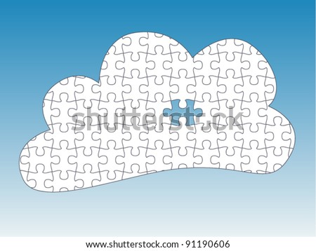 Cloud Computing one Piece Missing - jigsaw pieces are movable separate pieces