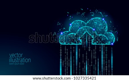 Cloud Computing Online Storage Low Poly. Polygonal Future Modern Internet  Business Technology. Blue Glowing