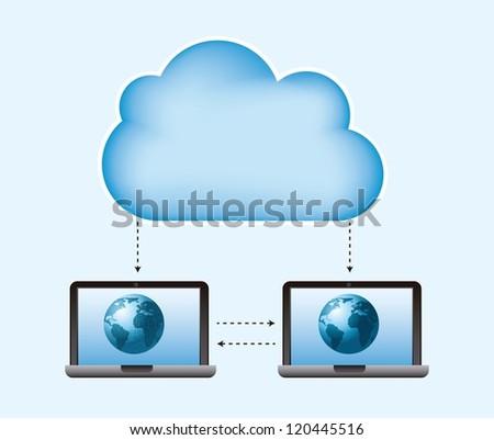 cloud computing over blue background. vector illustration
