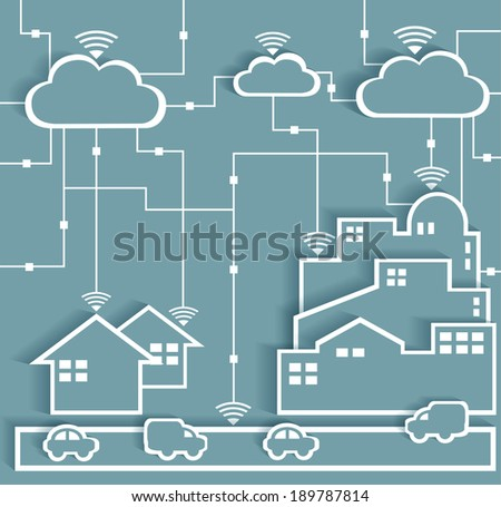 Cloud computing abstract concept with paper clouds in the sky and ...