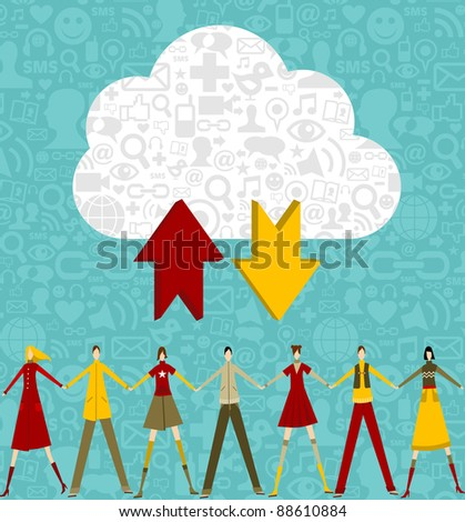 Cloud computing people concept on blue background with social icons. Vector file available.