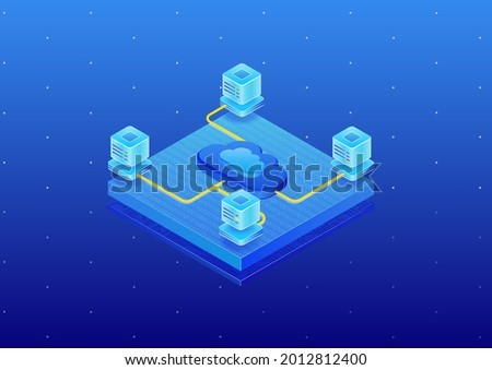 Cloud Computing platform with data centers. 3d isometric vector illustration of cloud platform such as PaaS, SaaS, IaaS.