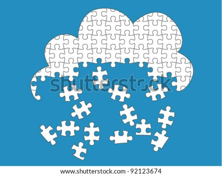 Cloud Computing Rain - jigsaw pieces are movable separate pieces