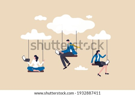Cloud computing, remote work on company cloud infrastructure, technology to connect people concept, people businessman and woman office employees working with computer laptop on swing suspend on cloud