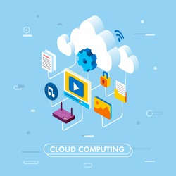 cloud computing service technology and data storage isometric 3d illustration vector for landing page, info graphic, marketing and others