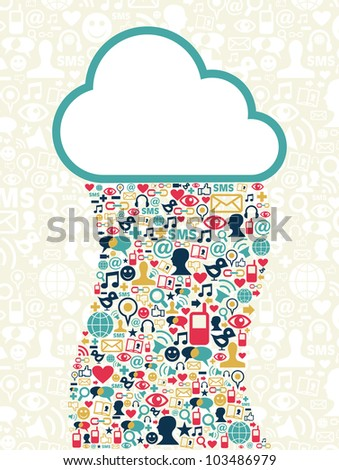Cloud computing social media network background with icons set. Vector file layered for easy manipulation and custom coloring.