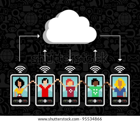 Cloud computing social team under cloud with cell phone connection on black background.  Vector file available.