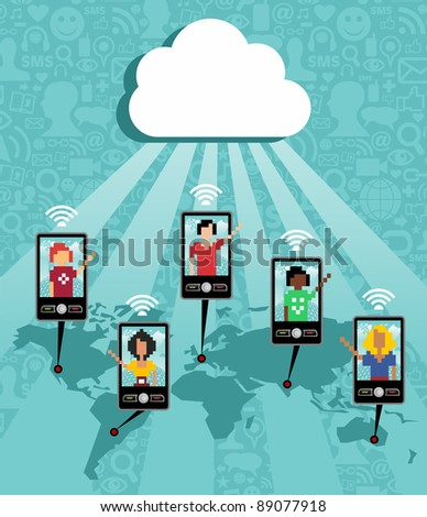 Cloud computing social team under cloud with cell phone connection on blue background.  Vector file available.