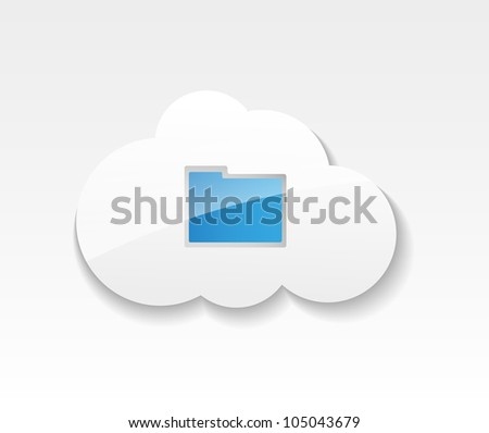 Cloud computing. Symbol of clouds and folder with documents. Concept of storing and transmitting information