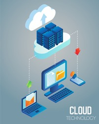 Cloud computing technology flowchart. Vector isometric illustration of data center with server racks in cloud connected with laptop, desktop computer and smartphone.
