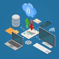 Cloud Computing Technology Isometric Concept with Computer, Laptop, Smartphone, Database and Arrow Icons. Security cloud storage server. Vector illustration