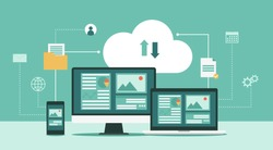 Cloud computing technology network with computer monitor, laptop, and mobile phone, Online devices upload, download information, data in database on cloud services, flat vector illustration
