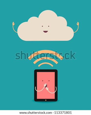 Cloud computing. The concept of reception and transmission of information between the device and the server.