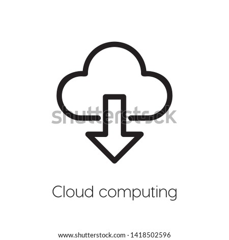 Cloud computing vector. Cloud computing symbol. Linear style sign for mobile concept and web design. Cloud computing symbol illustration. Pixel vector graphics - Vector.