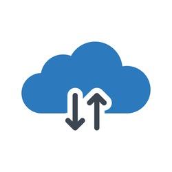 cloud computing vector glyph color icon