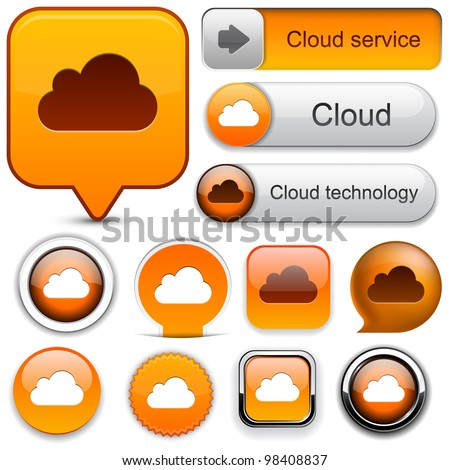 Cloud computing web orange buttons for website or app. Vector eps10.
