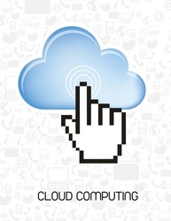 cloud computing  with cursor hand silhouette background. vector illustration