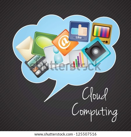 Cloud computing with icons apps (colorful icons). vector illustration