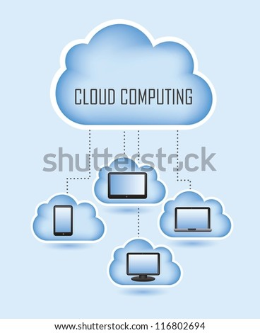 cloud computing with icons set. vector illustration