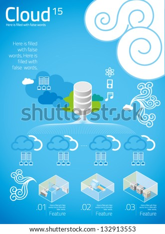 cloud computing with info graphics in blue background 15