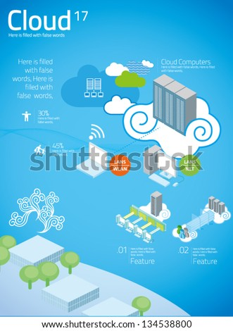 cloud computing with info graphics in blue background