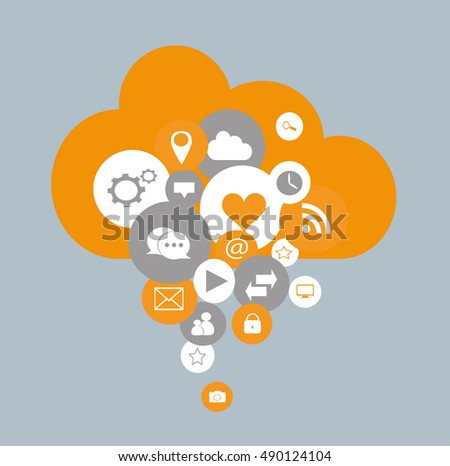 Cloud computing with social media icons flat design