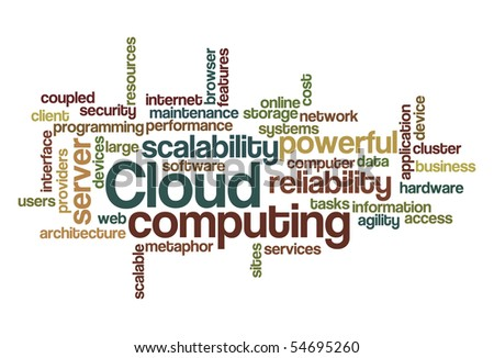 Cloud computing - Word Cloud - stock vector