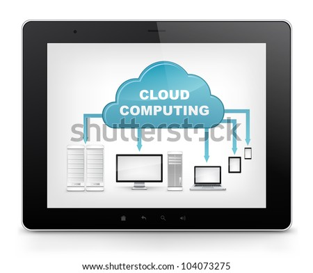 Cloud Concept. Tablet PC Isolated on White Background. Vector EPS 10.