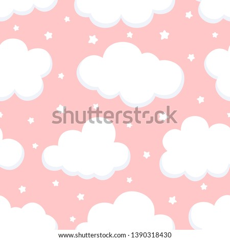 Cloud Cute Seamless Pattern Background with sky, Vector illustration