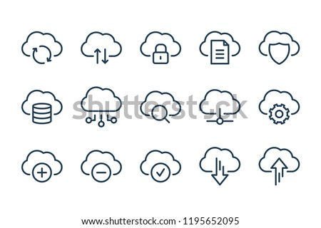 Cloud data and technology line icons. vector linear icon set.