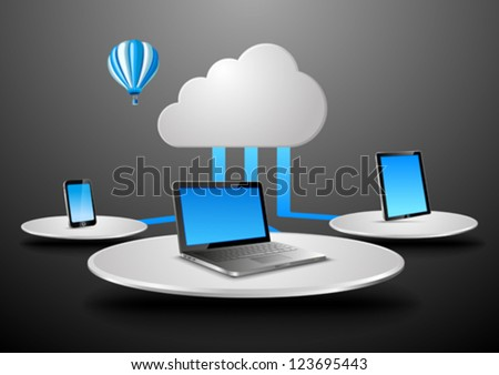 Cloud data concept in virtual space. Notebook, touchscreen phone, touch pad connected to cloud. Vector Presentation template for your product/application. Copyspace for your text or logo. Editable.