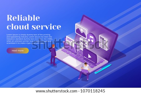Cloud data storage and remote data access flat 3d isometric business concept. People stand at the open laptop. 3d multimedia files icons. Professional hosting and data storage. Vector illustration
