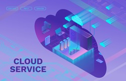Cloud data storage 3d isometric infographic illustration, landing page layout, vector web template, smart modern technolodgy concept with gadgets, smartphone, laptop, ultra violet colors