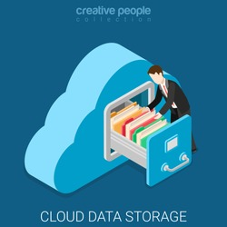 Cloud data storage flat 3d isometry isometric business technology server concept web vector illustration. Businessman put in document drawer folder in cloud-shaped cabinet. Creative people collection.