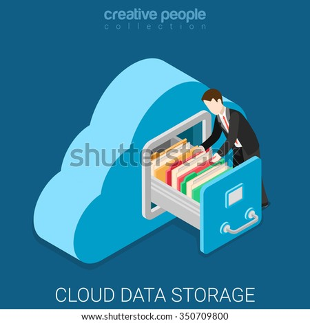 Cloud data storage flat 3d isometry isometric business technology server concept web vector illustration. Businessman put in document drawer folder in cloud-shaped cabinet. Creative people collection. Foto stock ©
