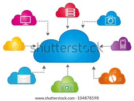 Cloud data storage on  white background. Eps8 vector. - stock vector