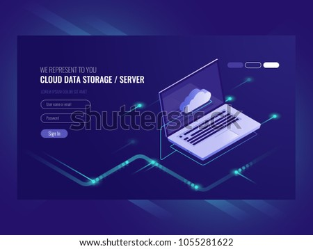Cloud data storage, remote data access, backup copy services, open laptop with cloud icon isometric vector ultraviolet