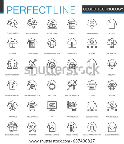 Cloud data technology services thin line web icons set. Connection outline stroke icon design.