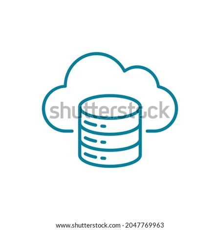 Cloud database function line icon. Cloud with server rack symbol. Cloud computing online storage. Infrastructure as a service IaaS. Web hosting and data backup. Vector illustration, flat, clip art.