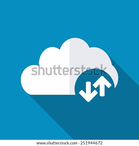 Cloud download and upload icon. Up and down arrows