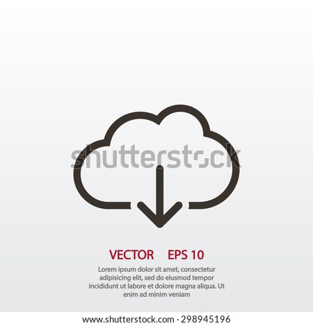 Cloud download. One of a set of linear web icons